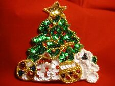 CHRISTMAS TREE SEQUIN BEADED APPLIQUE 2779-J