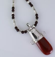 necklace. Handmade African Tribal Sterling silver and carnelian Tuareg