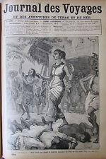 JOURNAL DES VOYAGES N° 686 de 1890 MARIAGE ILE MANGAIA / FEMMES AU JEUX CRICKET