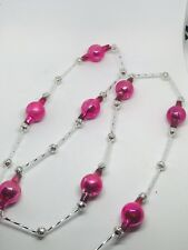 Vintage Mercury Glass Bead Christmas Garland Pink Silver 12 Feet!