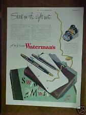 1945 Waterman's Commando Pen & Pencil WWll World War ll ad