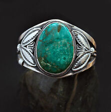 Native American Turquoise and Silver Handcrafted Cuff Bracelet (style 2)