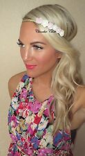 Pink Ivory Rose Flower Gold Plait Hair Head Band Choochie Choo Bridesmaids Girl