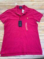 Ralph Lauren Women's Pink Skinny Polo Shirt Size Large Pony Logo Fuchsia Blouse