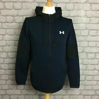 UNDER ARMOUR MENS BLUE MICROTHREAD FLEECE FULL ZIP HOODIE HOODY HOODED T