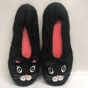 Womens Black Kitty Cat Slippers Pink Halloween Spooky Comfy Cute Size 7/8