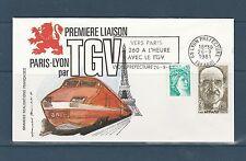 FRa/ enveloppe  TGV   Paris Lyon vers Paris  a 260 a l'heure  1981