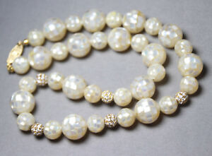 Mother of Pearl Shell Inlay Ball Gemstone & Rhinestone 14kt Gold Ball Necklace