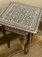"""Egyptian Handmade Wood End Table Inlaid Mother of Pearl (16"""")"""