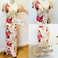 ROMAN Originals Floral Skirt/Top/Bag 3 Piece Set Size 12 Wedding Mother Of Bride