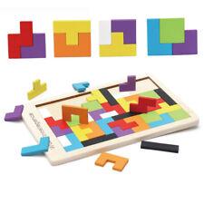 Wooden Tetris Building Block Puzzle Montessori Preschool Educational Toys