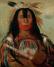 "George Catlin 1832 - Chief Native American, Indian, antique, 14""x11"" Canvas Art"