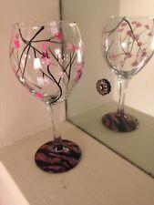 Wine Glass wedding Glassware set of 4 art Cherry blossom dishwasher safe