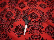 """10 Yards RED Black Flocking Damask Taffeta 3D Fabric 58"""" Flocked Velvet"""