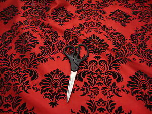 """10 Yards RED Black Flocking Damask Taffeta 3D Fabric 57"""" Flocked Velvet"""