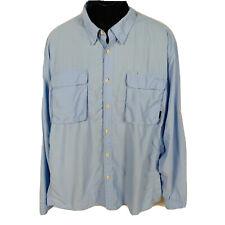 Orvis Sportswear L/S Blue Shirt Mens XL Vented Fishing Hiking Nylon Blend