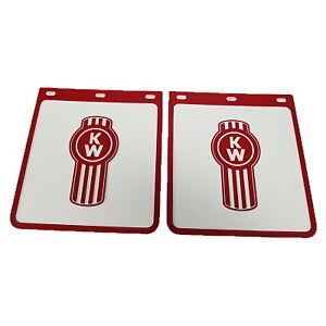 2x Kenworth White/Red Ute Mudflaps 230x250mm; Mud Flap; Mudflap; 4x4; 4WD