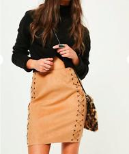 MISSGUIDED en suédine œillet Lacets Mini Jupe (T49) RRP £ 18.00 UK 4-Tan