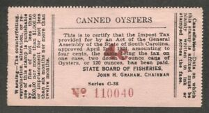 SOUTH CAROLINA Oysters Tax revenue SRS SC OY77b