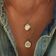 Chocker Women Jewelry Multilayer Gold Chain Coin Star Moon Pendant Necklace