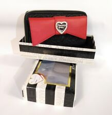 Betsey Johnson Large Bow Wallet Black/Red Floral Zip Around BG0030P $65 Gift Box