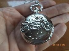 """on the Cover, Includes 32"""" chain New Quartz Pocket Watch with Motorcycle"""