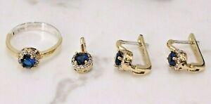 Sapphire 925 Sterling Silver Handmade Turkish Ring Earring Pendant Ladies Set