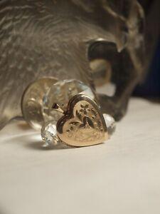 GENUINE 10K YELLOW GOLD HEART LOCKET PENDANT WITH DIAMOND / MHJ !