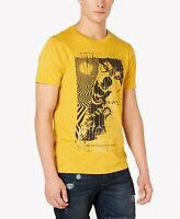 Guess Mens T-Shirt Yellow Size XL Wild Wolves Metallic Graphic Tee $34- 110