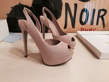 FABULOUS OFFICE NUDE PINK SLINGBACK PEEP TOE SUEDE COURT SHOES BLOGGER RPP 69£