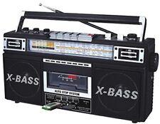 Qfx J22U Retro Mini Boombox Am Fm Sw 4 Band Radio Cassette RecorderUsb Sd Mp3 Pl