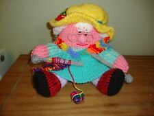 Newly hand knitted humpty dumpty Grandma Gran with knitting soft toy