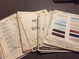 OLDSMOBILE PAINT CHIPS. CHARTS  VINTAGE RARE ORIGINAL CHARTS 1936-1975