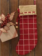 PRIMITIVE COUNTRY PLAID CRANBERRY STITCHED STOCKING WITH STARS By PARK DESIGNS