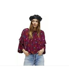 Free People Womens Blouse Shirt Wild Flower Berry Combo Floral Mesh Size Large