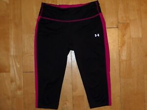UNDER ARMOUR Women FITTED Small S Black Pink ALL SEASON GEAR Capri RUNNING Pants