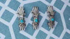 Southwestern Style Set of 3 Silvertone Metal with Faux Turquoise Hat Band Clips