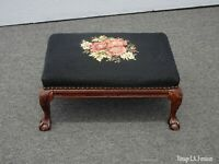 Vintage French Country Provincial Black Floral Needlepoint Footstool