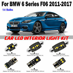 14pcs Deluxe White LED Interior Light Kit For BMW 6 Series F06 Coupe 2011-2017