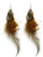 "Brown Cream 5"" Long BOHO Hippie Rockabilly Western Cowgirl Ethnic Gypsy Earrings"