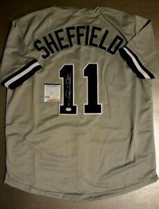 GARY SHEFFIELD  SIGNED  CUSTOM  XL  NEW YORK GRAY JERSEY, PSA COA #9A28114