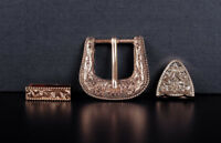 ROCK WESTERN COWBOY GOLD FLORAL ENGRAVED BELT BUCKLE SET FITS 30MM LEATHER STRAP