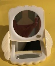 VINTAGE COMPACT CELLULOID/PLASTIC WHITE DOUBLE MIRRORS 4.5 X 3.5