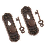 2 Pieces 1:12 Scale Door Knob Handle Key Dollhouse Miniature DIY Accessories