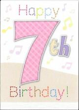 GIRLS 7th BIRTHDAY CARD - AGE 7 - MUSICAL NOTES