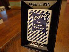 ZIPPO BOX SERIES 1950'S  BLUE STRIPE WHITE MATTE ZIPPO LIGHTER MINT IN BOX 2016