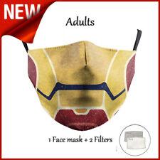 Iron Man Adult Cotton Face Mask Superhero [1 Mask + 2 Filters]