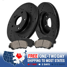 FRONT KIT Black Hart *DRILLED /& SLOTTED* Disc Brake Rotors Ceramic Pads F1883