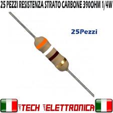 25 Pezzi Resistenza 390ohm strato carbone 1/4W 5% Resistor 390ohm