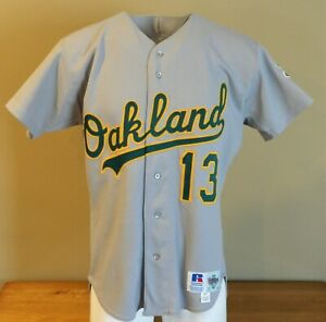 Mid 1990's Brent Gates Game Worn Oakland A's Road Jersey #13 - Size 44